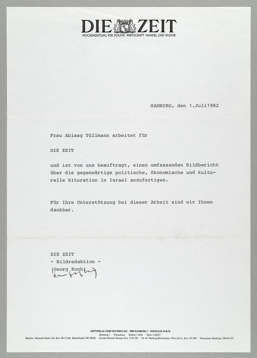 Begleitschreiben der ZEIT / Georg Koch für Abisag Tüllmann, 1.7.1982 -