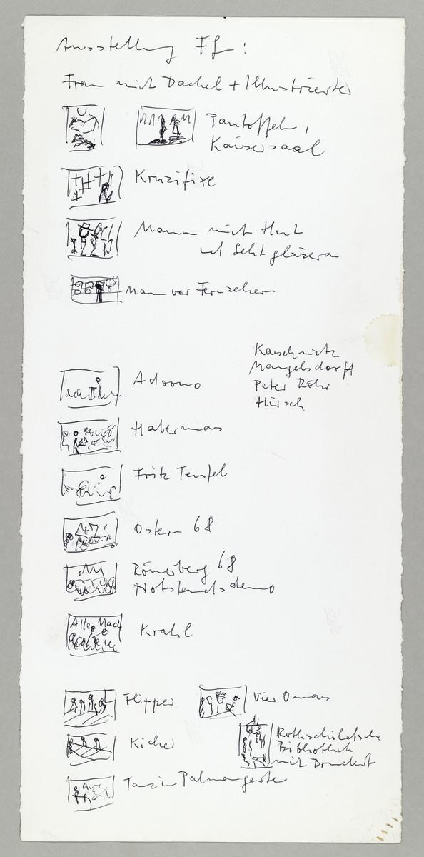 Skizze von Abisag Tüllmann zur Hängung einer Ausstellung in Frankfurt am Main, o.D. -