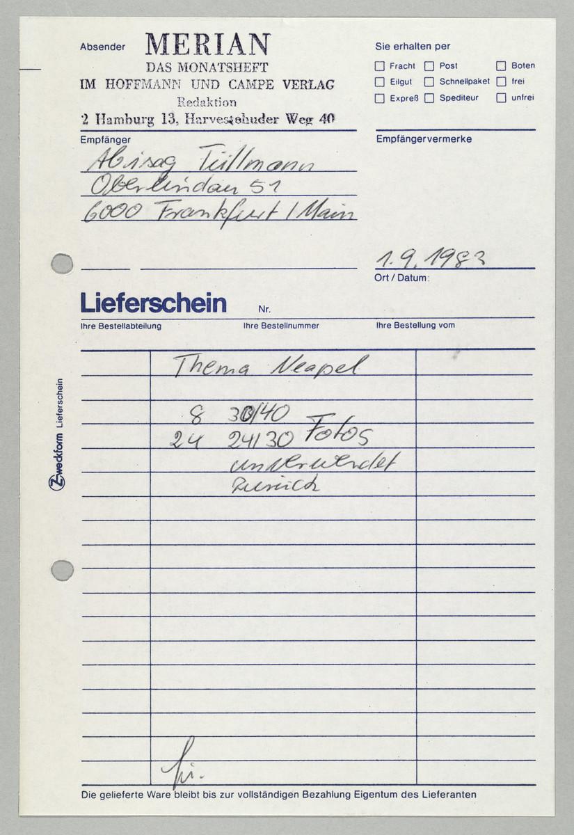 Lieferschein der Zeitschrift Merian an Abisag Tüllmann, 1.9.1983 -