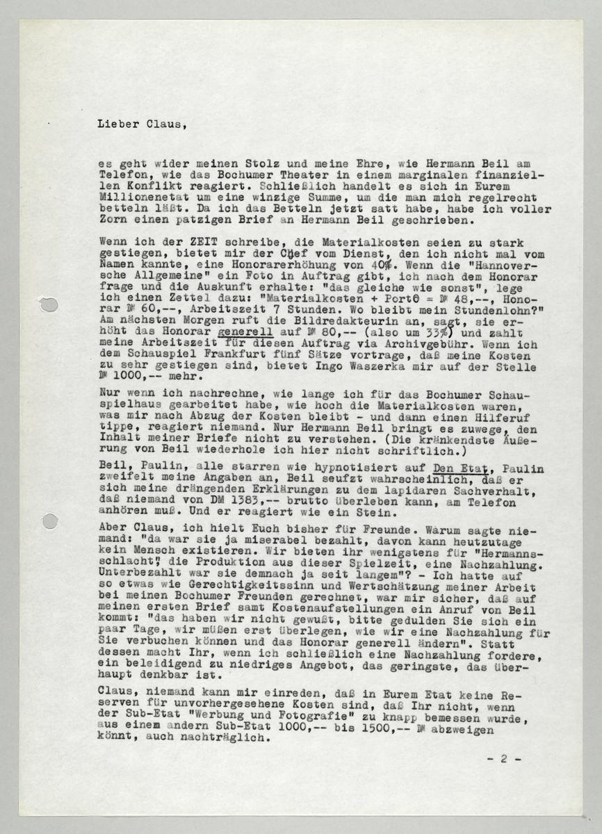 Brief von Abisag Tüllmann an Claus Peymann, 13.3.1983, Seite 1 (von 2) -