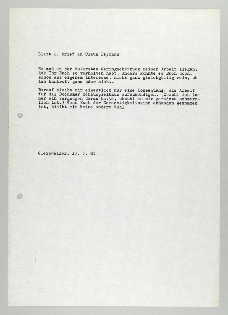 Brief von Abisag Tüllmann an Claus Peymann, 13.3.1983, Seite 2 (von 2) -