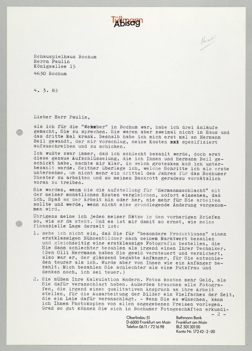 Brief von Abisag Tüllmann an das Schauspielhaus Bochum / Herr Paulin, 4.3.1983 -