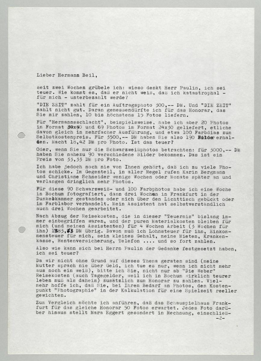 Brief von Abisag Tüllmann an Hermann Beil, 16.2.1983, Seite 1 (von 5) -