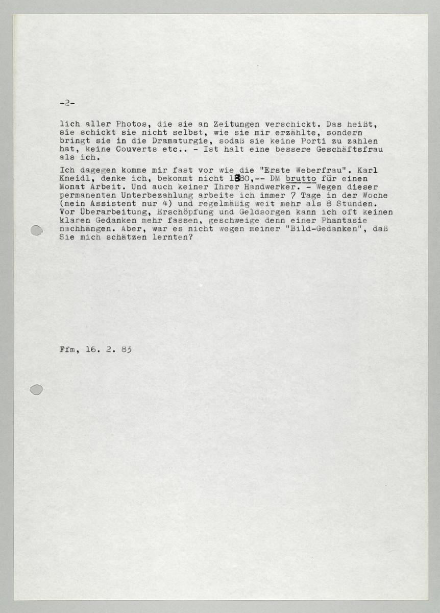 Brief von Abisag Tüllmann an Hermann Beil, 16.2.1983, Seite 2 (von 5) -