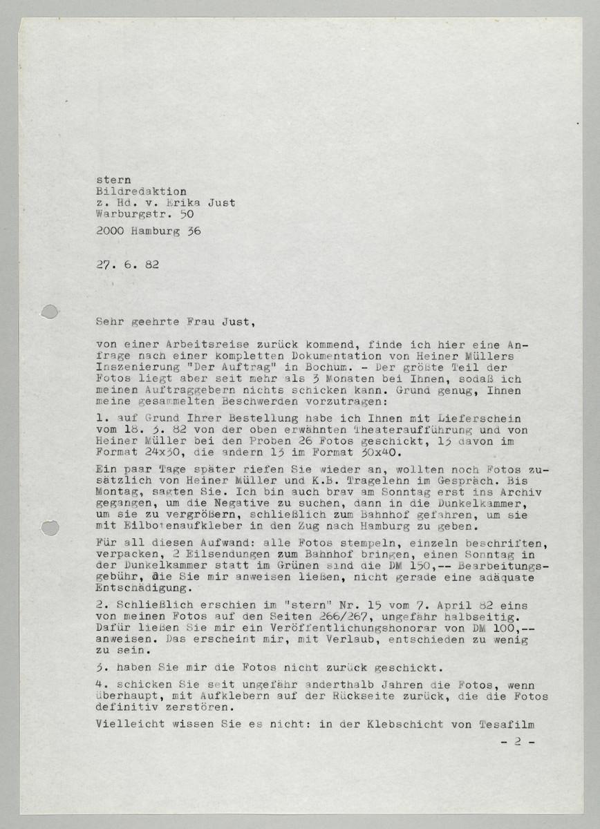 Brief von Abisag Tüllmann an die Bildredaktion des Magazins Stern / Frau Just, 1982 (1) -