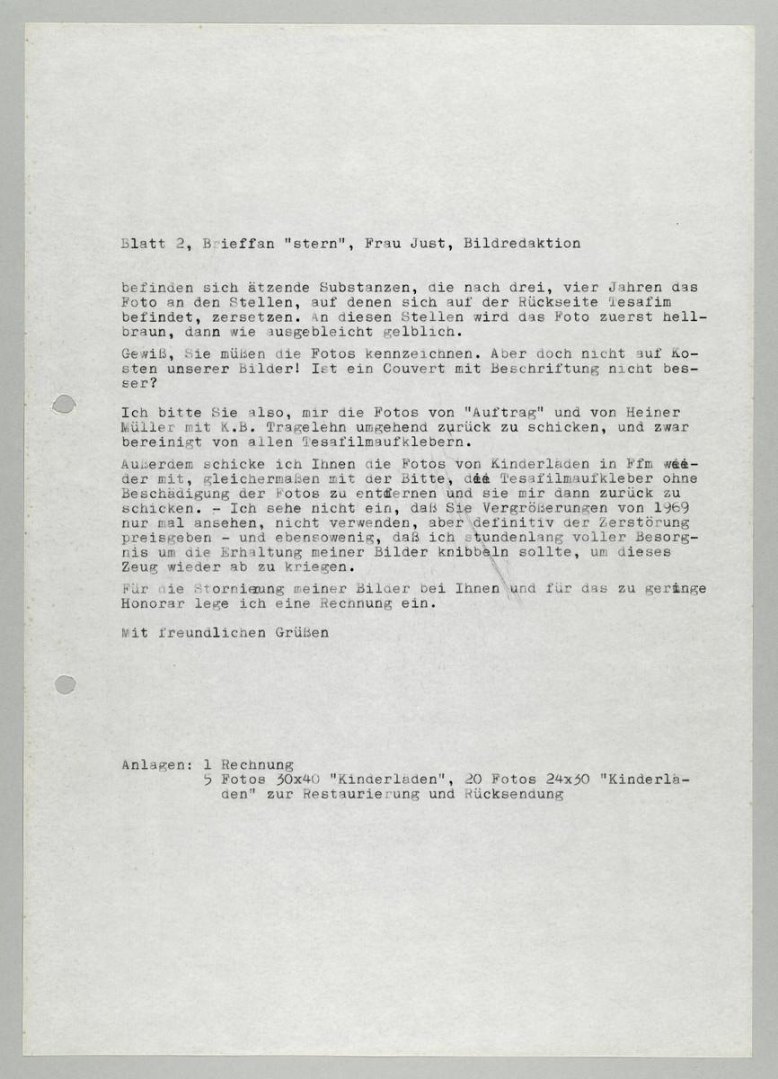 Brief von Abisag Tüllmann an die Bildredaktion des Magazins Stern / Frau Just, 1982 (2) -