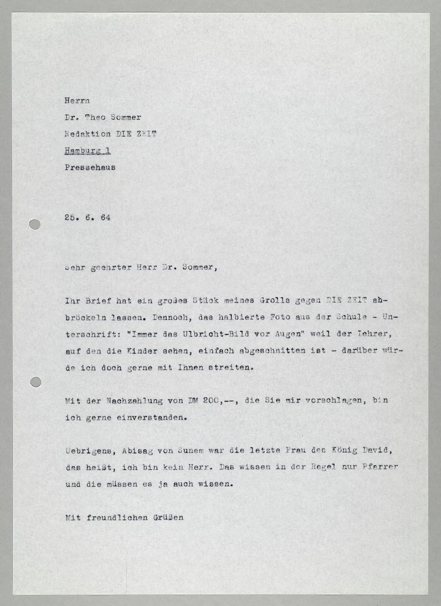 Brief von Abisag Tüllmann an die ZEIT / Dr. Theo Sommer, 25.6.1964 -