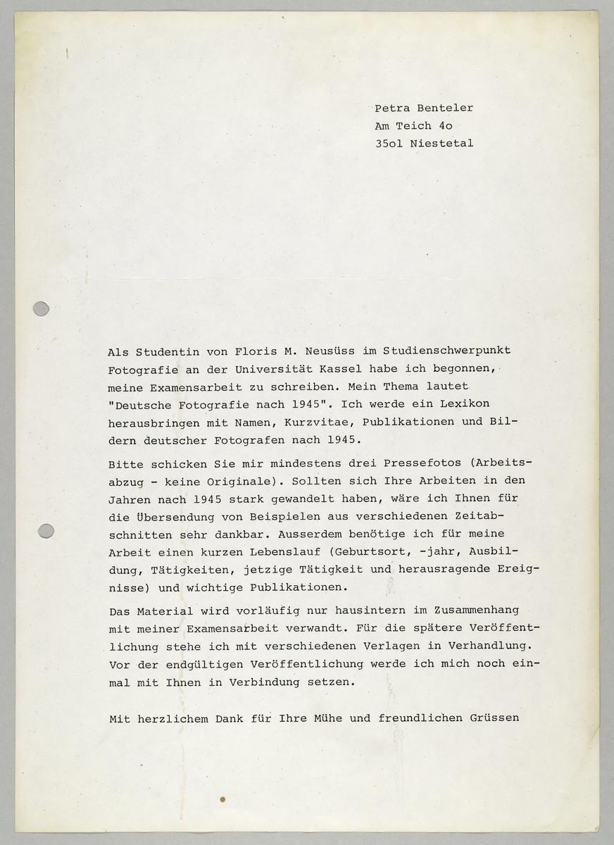 Brief von Petra Benteler an Abisag Tüllmann, [1978] -