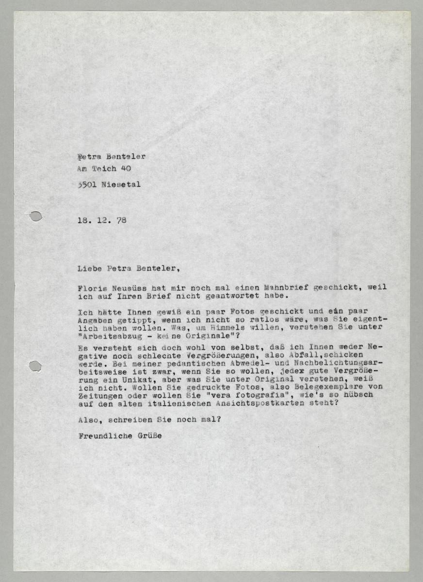 Brief von Abisag Tüllmann an Petra Benteler, 18.12.1978 -