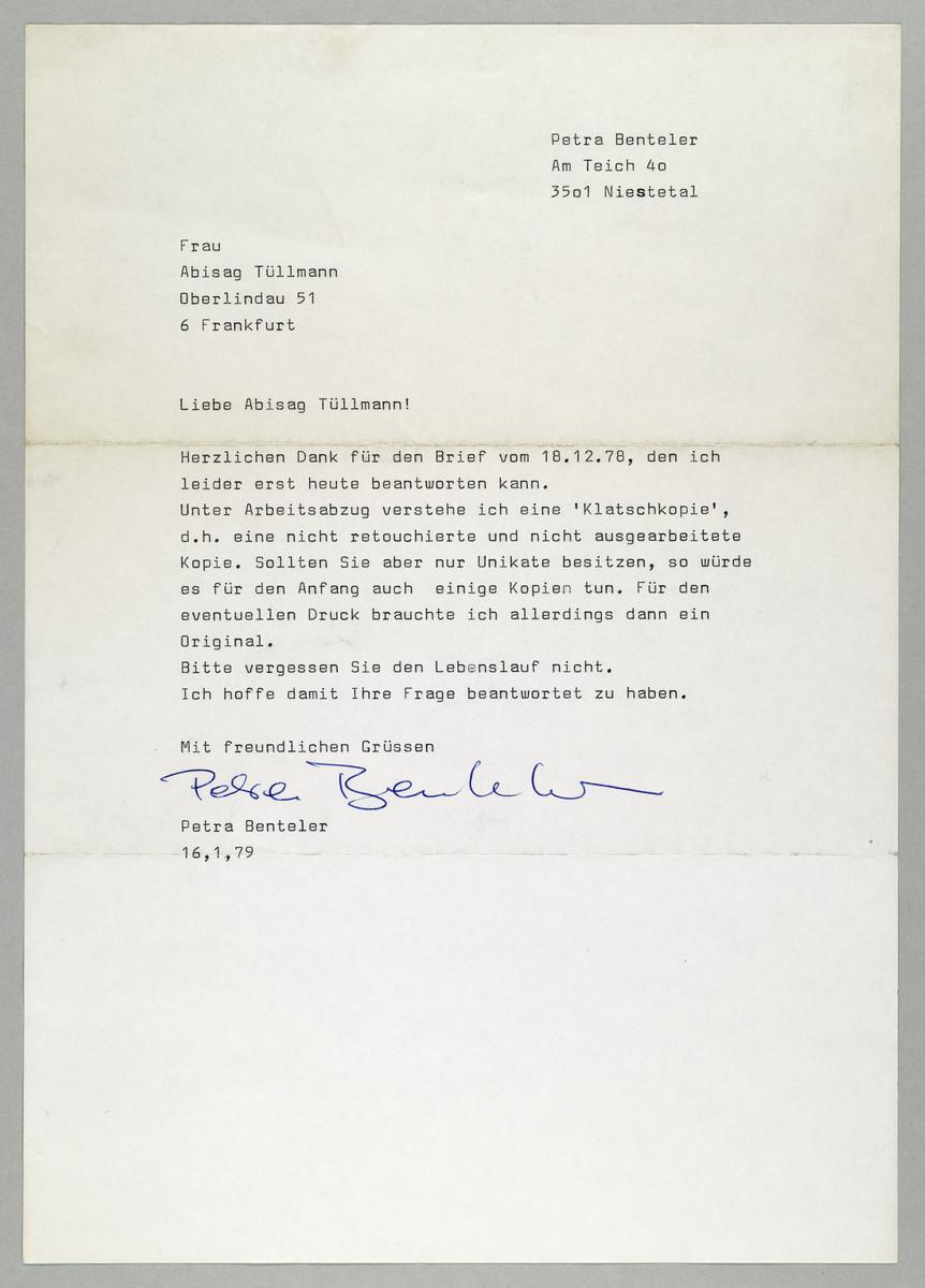 Brief von Petra Benteler an Abisag Tüllmann, 16.1.1979 -