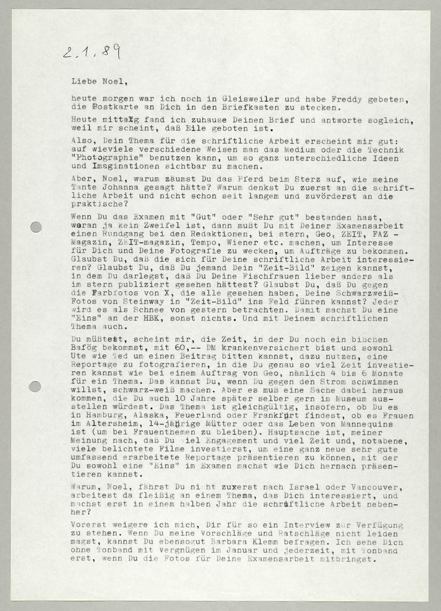 Brief von Abisag Tüllmann an Noel Matoff, 2.1.1989 -