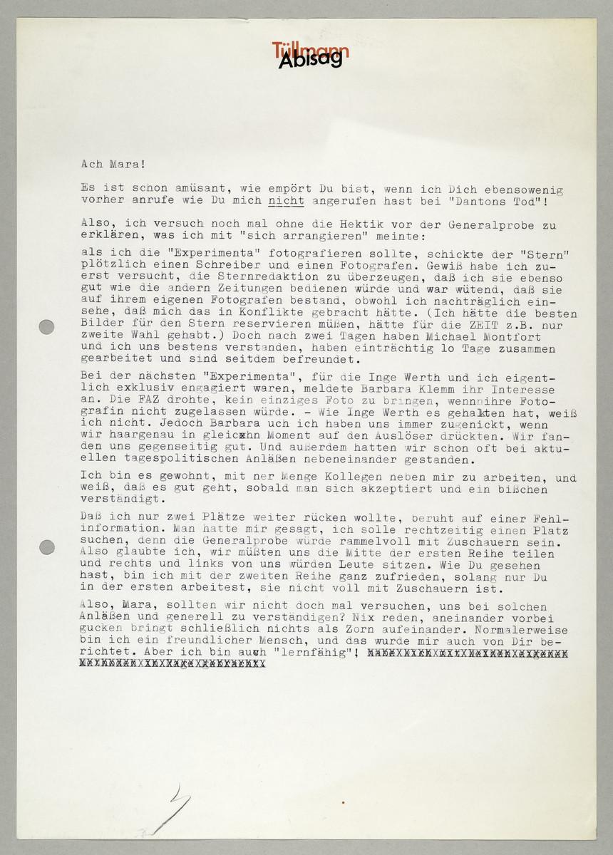 Briefentwurf von Abisag Tüllmann an Mara Eggert, [ca. 1980] -