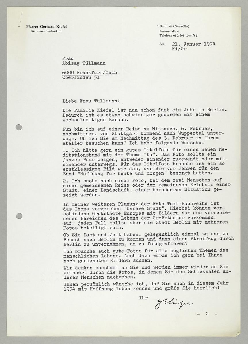 Brief des Pfarrers Gerhard Kiefel an Abisag Tüllmann, 21.1.1974 -