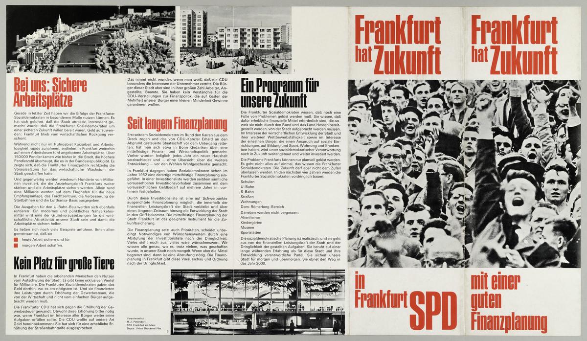 Werbeleporello der SPD Frankfurt (Cover), o.D. -