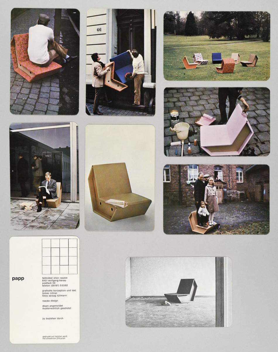 Buchobjekt (Karten in Umschlag) zur Ausstellung von Pappmöbeln von Peter Raacke (1967) -