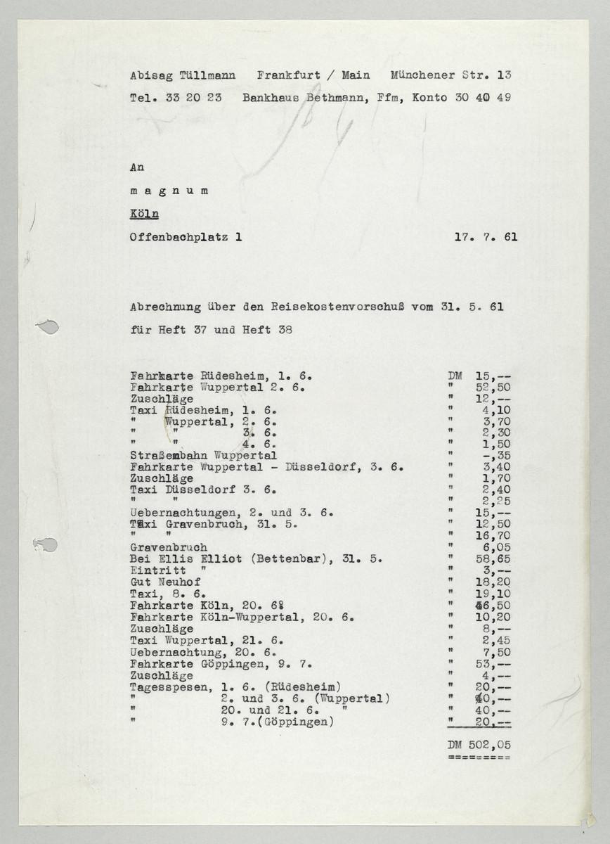 Abrechnung von Abisag Tüllmann an die Zeitschrift Magnum, 17.7.1961 -