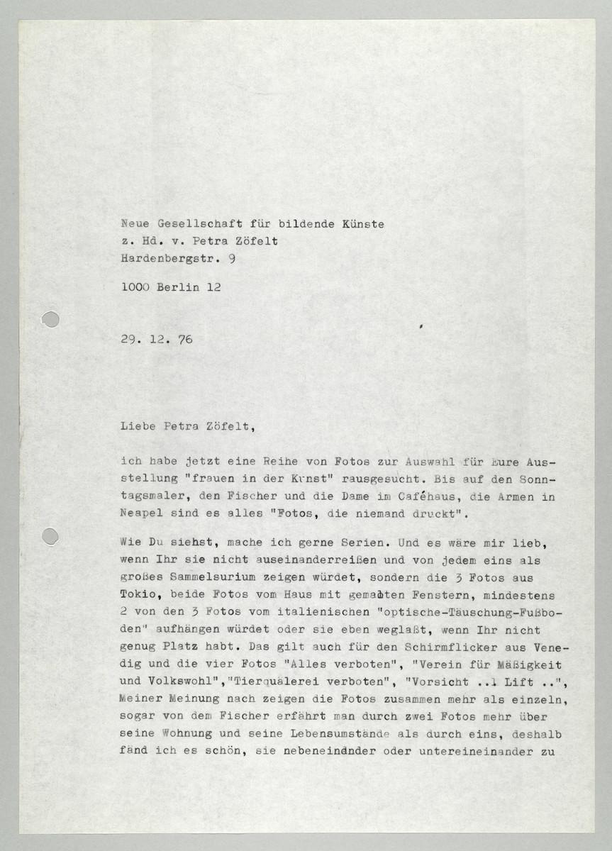 Brief von Abisag Tüllmann an die Neue Gesellschaft für bildende Künste (NGbK) / Petra Zöfelt, 29.12.1976 (1) -