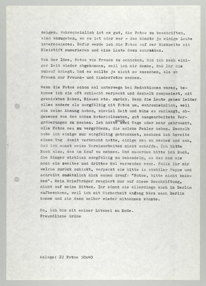 Brief von Abisag Tüllmann an die Neue Gesellschaft für bildende Künste (NGbK) / Petra Zöfelt, 29.12.1976 (2) -