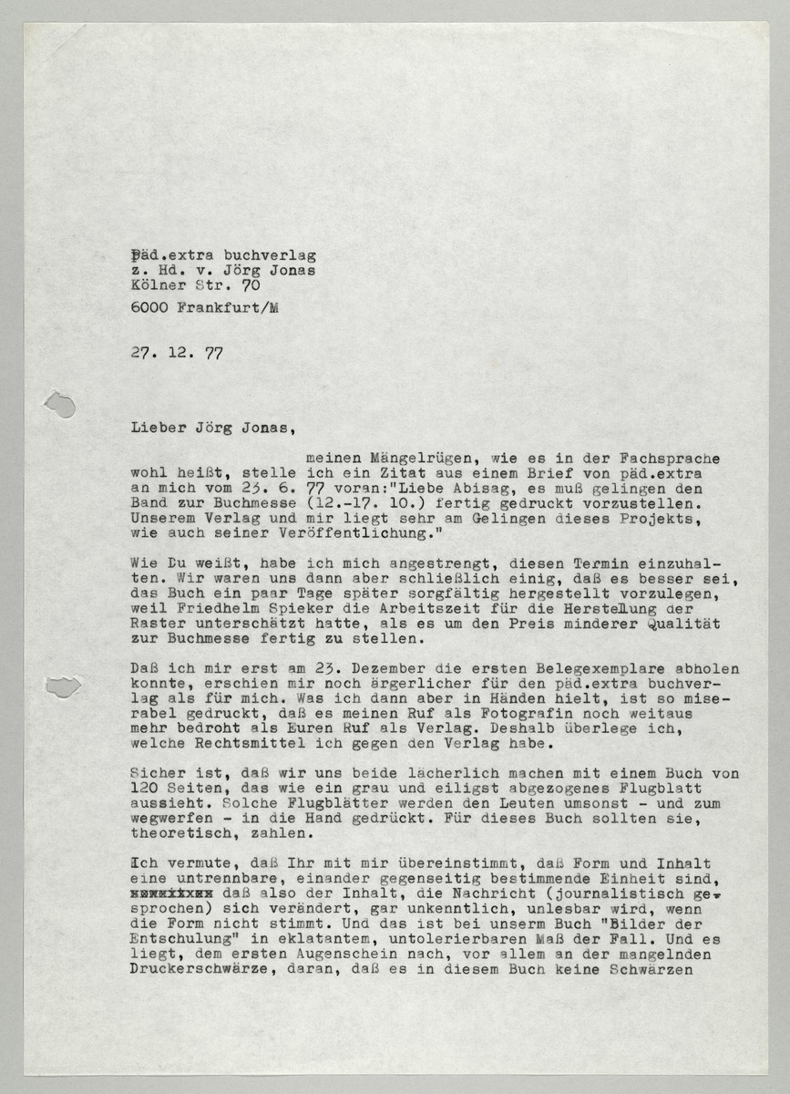 Brief von Abisag Tüllmann an den Päd.extra Buchverlag / Jörg Jonas, 1977 -