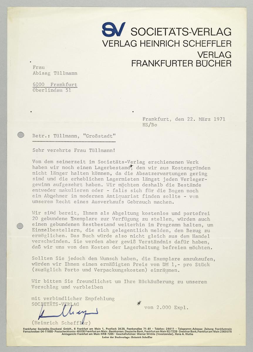 Brief vom Societäts-Verlag / Heinrich Scheffler an Abisag Tüllmann, 22.3.1971 -