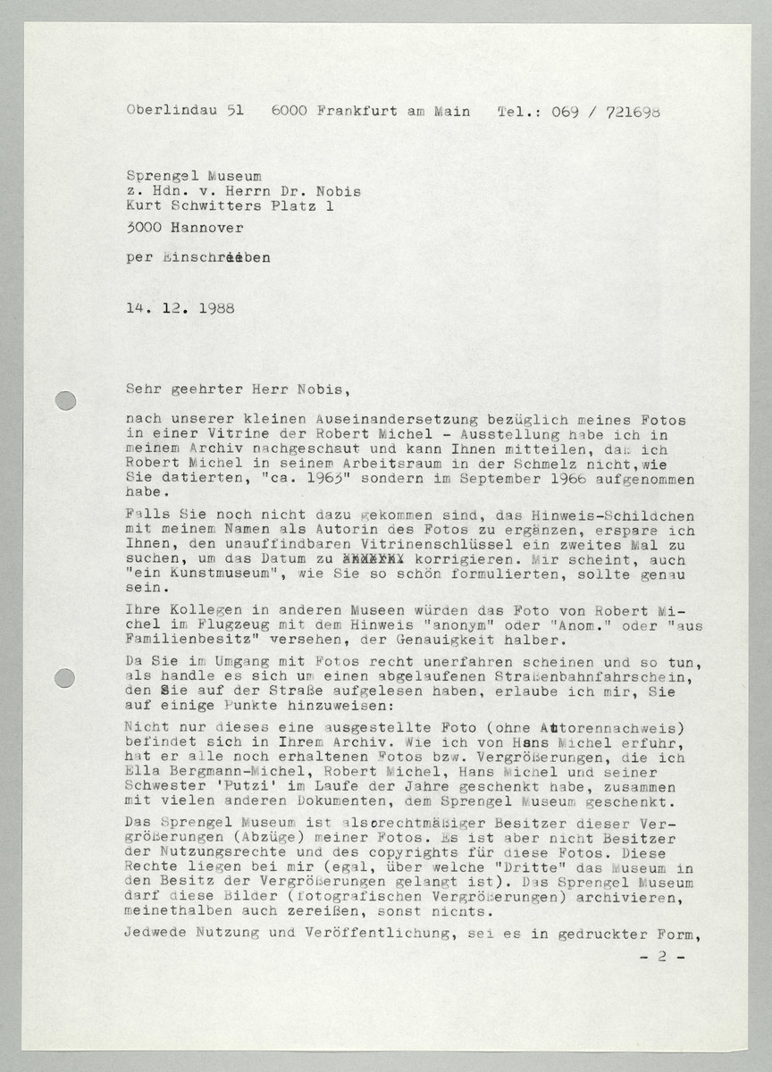 Brief von Abisag Tüllmann an das Sprengel Museum / Herr Nobis, 14.12.1988 (1) -
