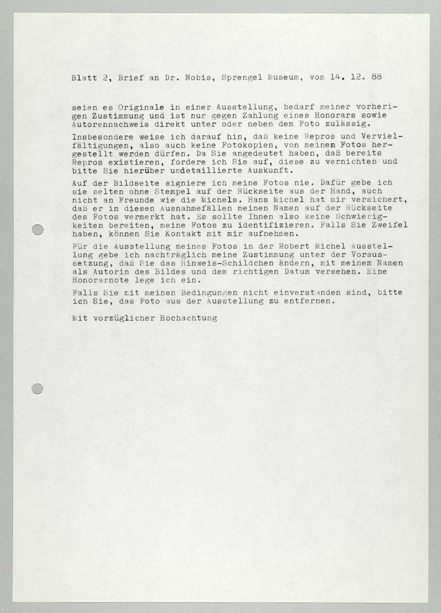 Brief von Abisag Tüllmann an das Sprengel Museum / Herr Nobis, 14.12.1988 (2) -