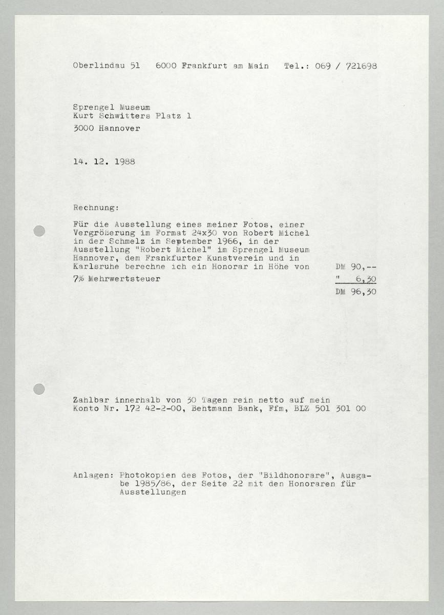 Rechnung von Abisag Tüllmann an das Sprengel Museum, 14.12.1988 -