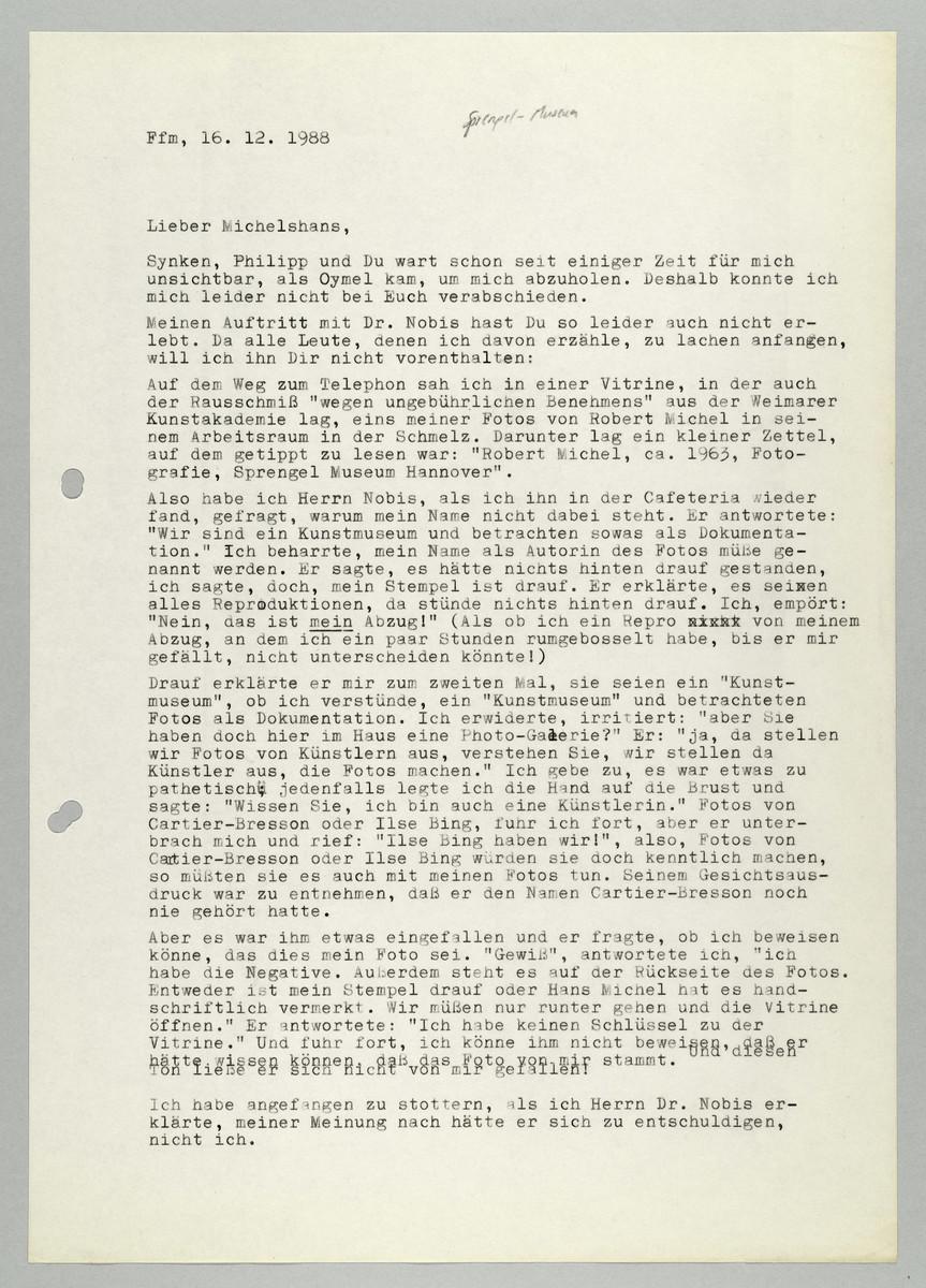 Brief von Abisag Tüllmann an Hans Michel, 16.12.1988 (1) -