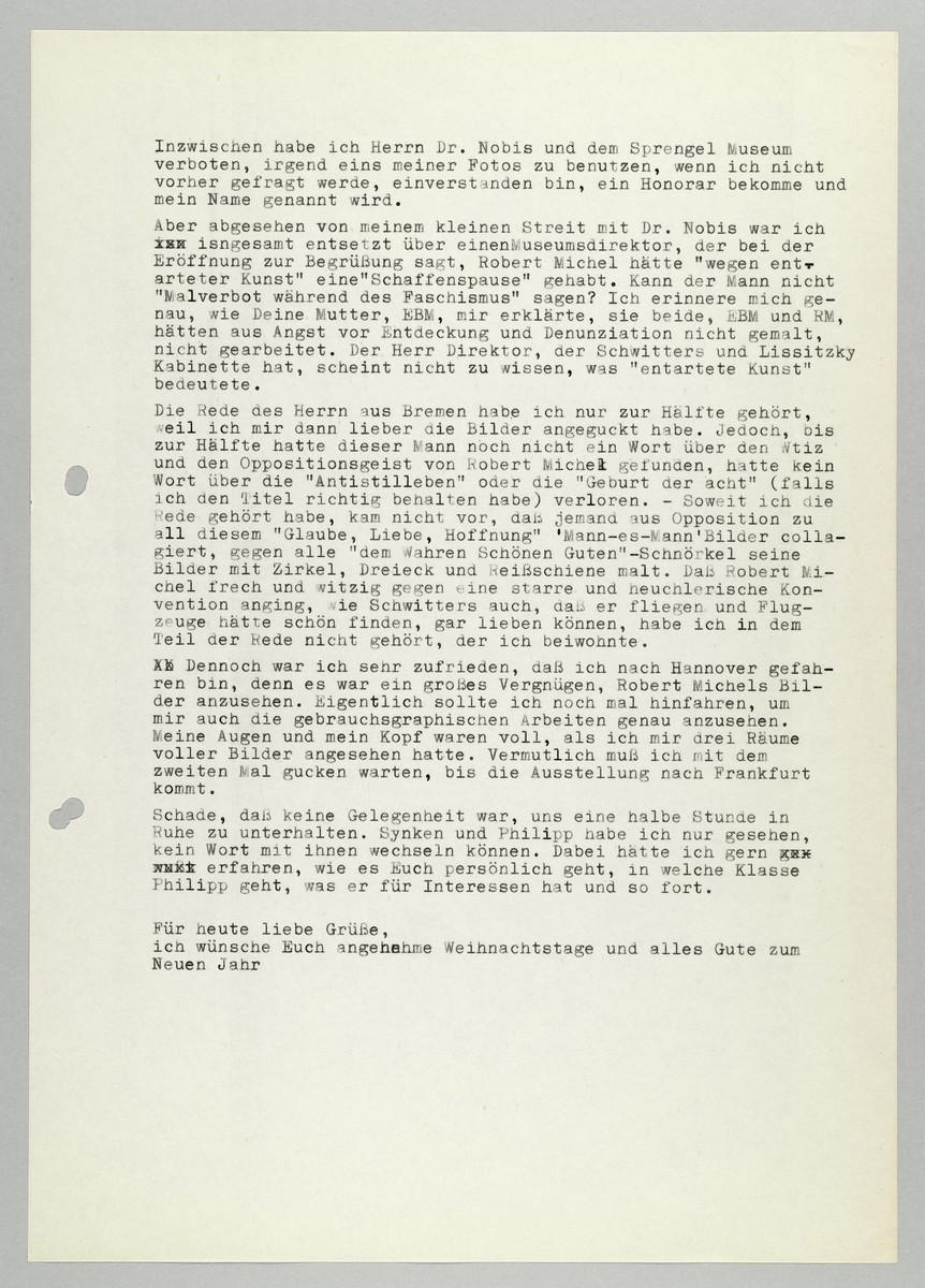 Brief von Abisag Tüllmann an Hans Michel, 16.12.1988 (2) -