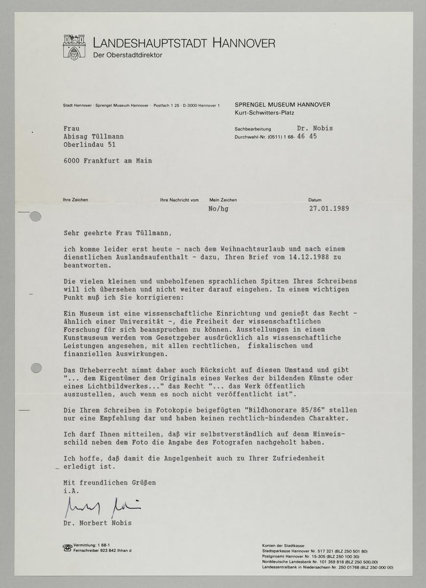 Brief vom Sprengel Museum / Norbert Nobis an Abisag Tüllmann, 27.1.1989 -
