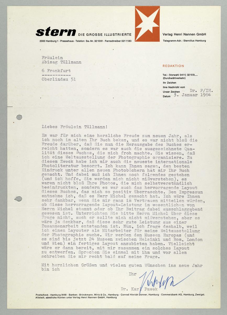 Brief vom Magazin Stern / Dr. Karl Pawek an Abisag Tüllmann, 3.1.1964 -