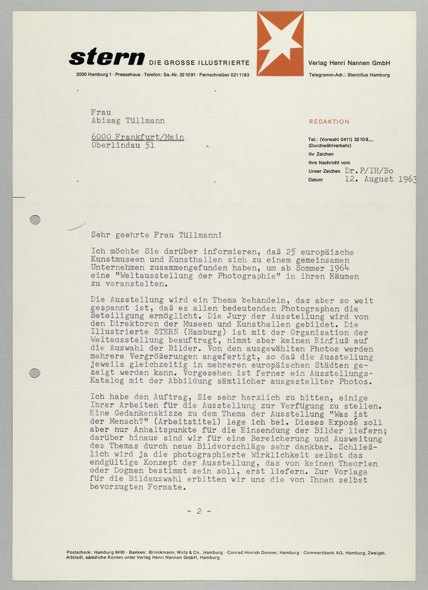Brief vom Magazin Stern / Dr. Karl Pawek an Abisag Tüllmann, 12.8.1963 (1) -