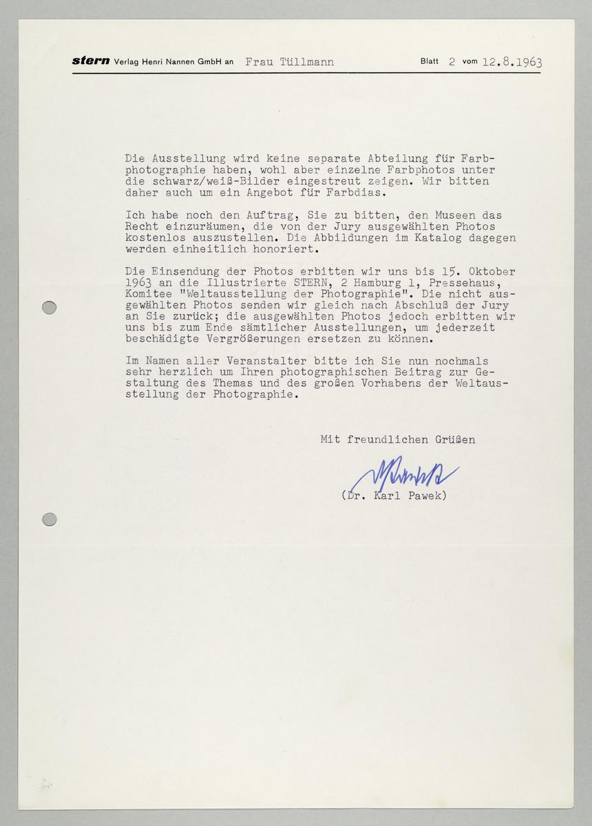 Brief vom Magazin Stern / Dr. Karl Pawek an Abisag Tüllmann, 12.8.1963 (2) -