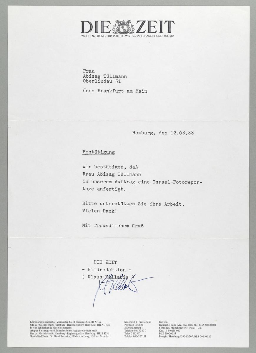 Begleitschreiben der ZEIT / Klaus Kallabis für Abisag Tüllmann, 12.8.1988 -