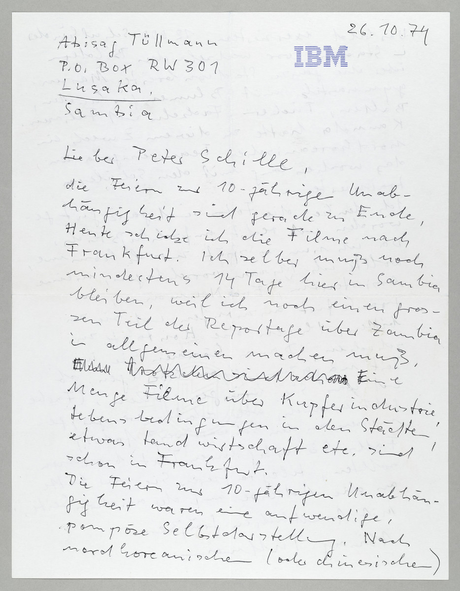 Brief von Abisag Tüllmann an die ZEIT / Peter Schille, 26.10.1974, Seite 1 (von 2) -