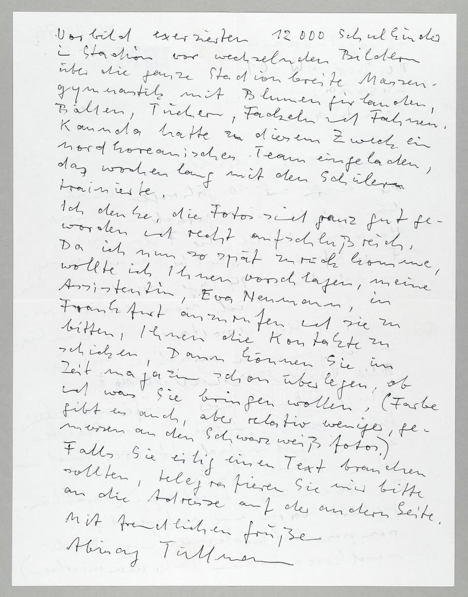 Brief von Abisag Tüllmann an die ZEIT / Peter Schille, 26.10.1974, Seite 2 (von 2) -
