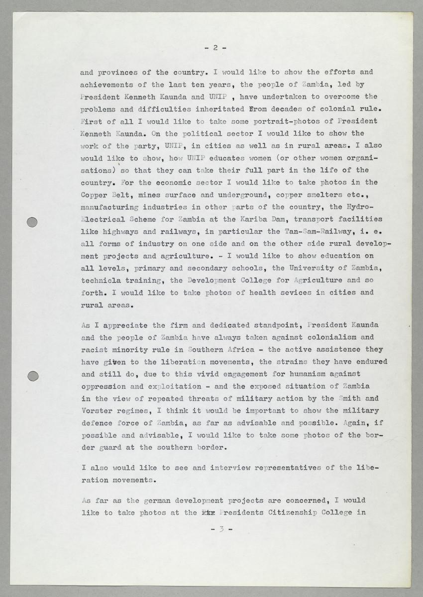 Brief von Abisag Tüllmann an Eric Wightman (Deputy Director Zambia Information Services) -