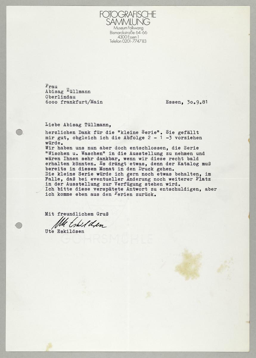 Brief von Ute Eskildsen (Fotografische Sammlung, Museum Folkwang) an Abisag Tüllmann, 30.9.1981 -