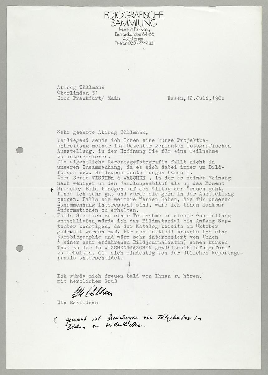 Brief von Ute Eskildsen (Fotografische Sammlung, Museum Folkwang) an Abisag Tüllmann, 12.7.1980 -