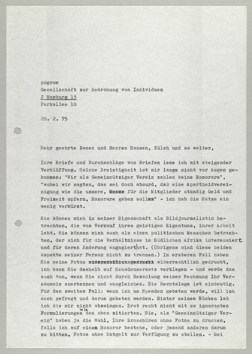 Brief von Abisag Tüllmann an die Gesellschaft für bedrohte Völker, 28.2.1975 -