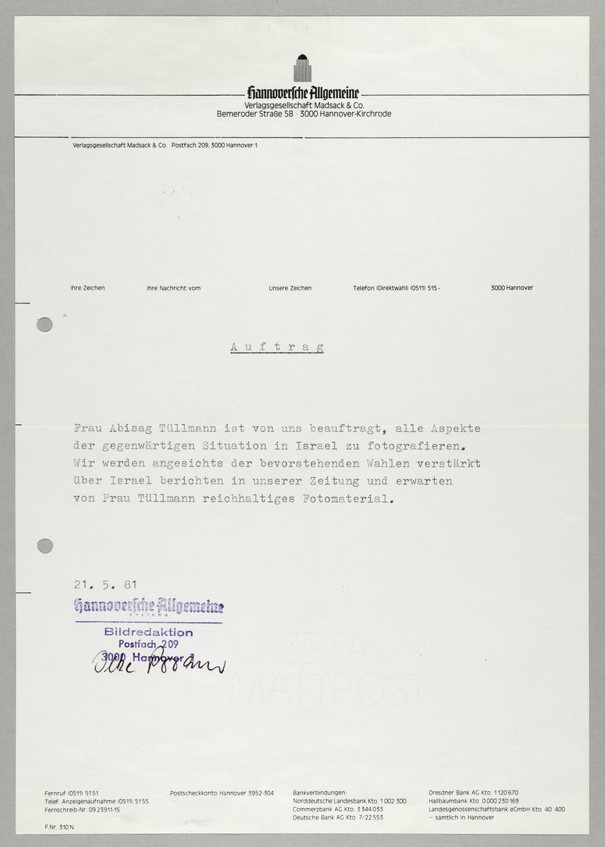 Begleitschreiben der Hannoverschen Allgemeinen Zeitung für Abisag Tüllmann -