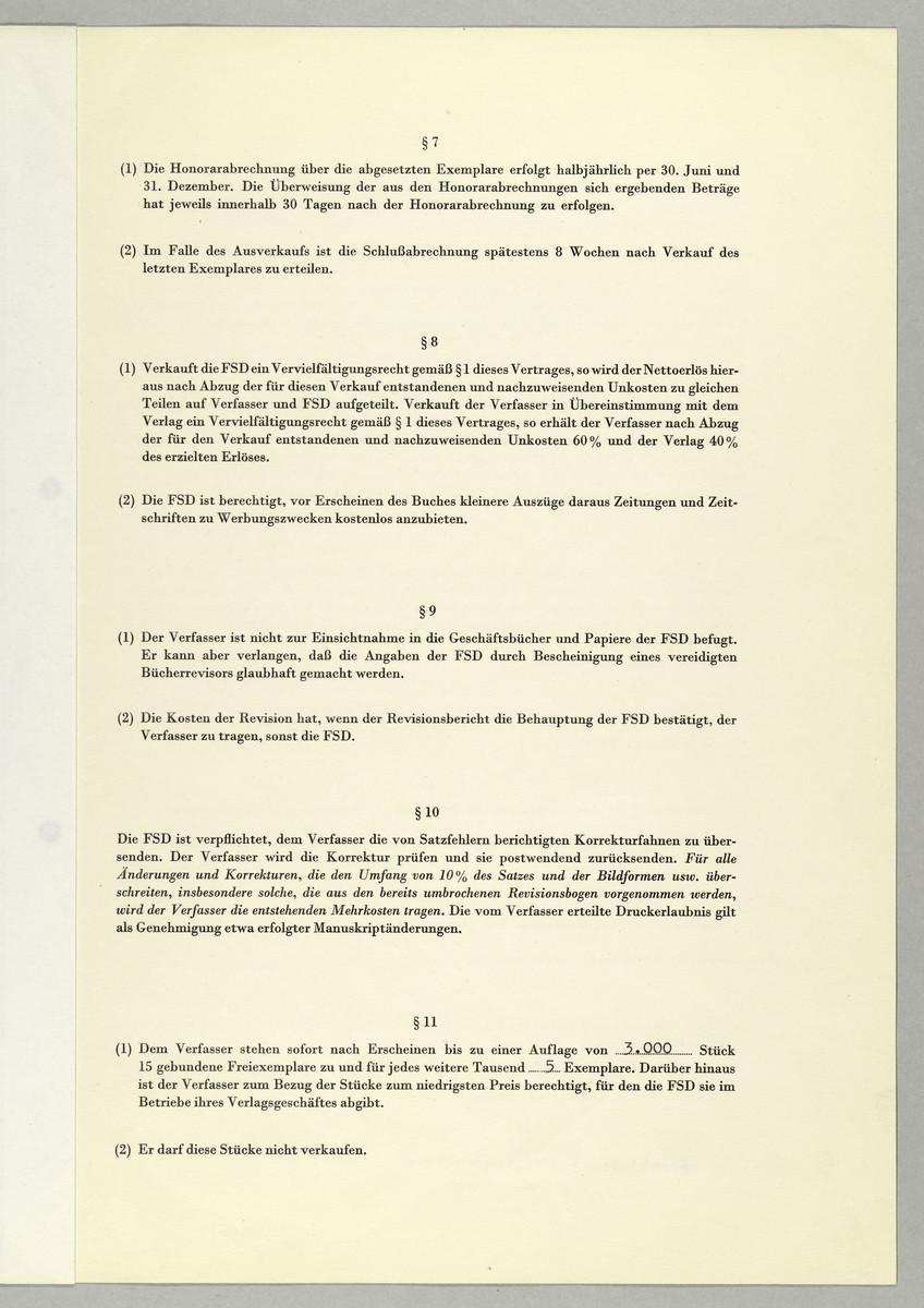 Verlagsvertrag zwischen der Frankfurter Societäts-Druckerei und Abisag Tüllmann -