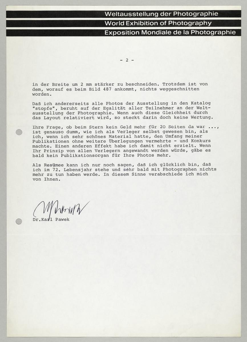 Brief von Dr. Karl Pawek (Weltausstellung der Photographie) an Abisag Tüllmann, 23.11.1977 (2) -