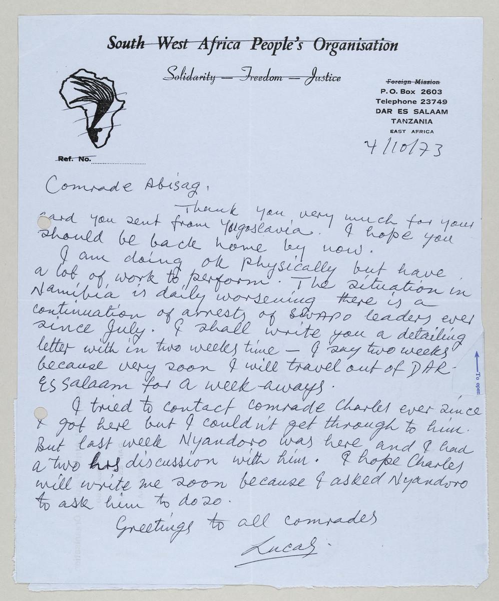 Brief von Lucas Pohamba (SWAPO) an Abisag Tüllmann, 4.10.1973 -