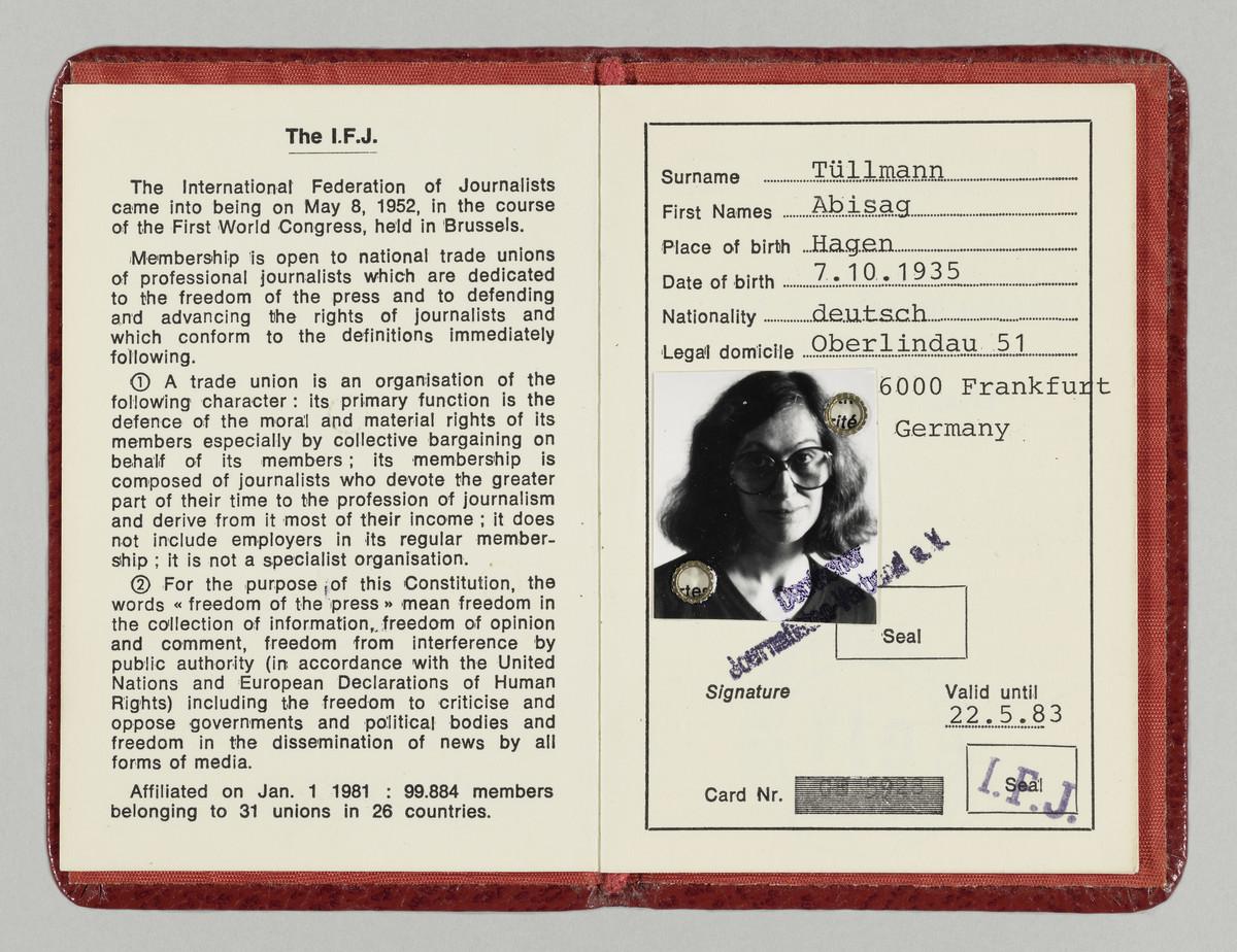 Presseausweis der Fotografin Abisag Tüllmann, 22.5.1983 (Gültigkeitsdatum) -