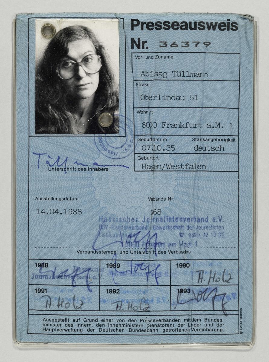 Presseausweis der Fotografin Abisag Tüllmann, 14.4.1988 (Ausstellungsdatum) -