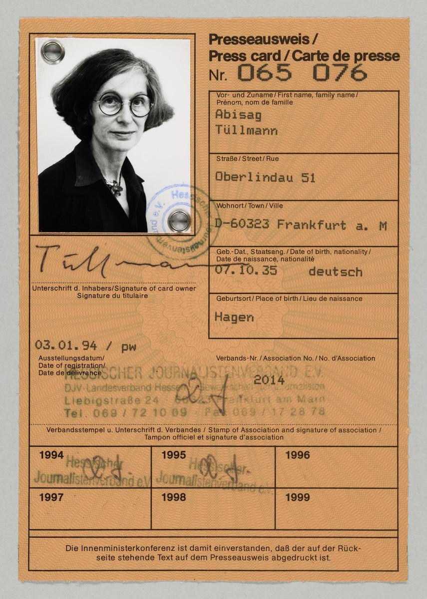 Presseausweis der Fotografin Abisag Tüllmann, 3.1.1994 (Ausstellungsdatum) -