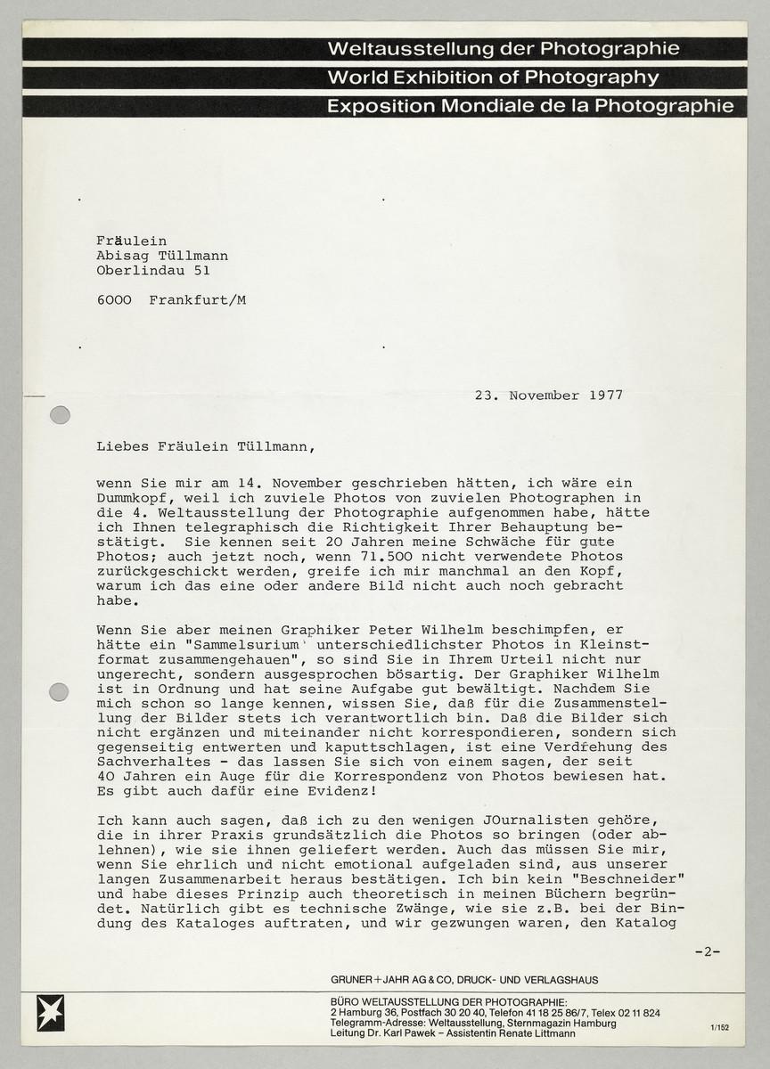 Brief von Dr. Karl Pawek (Weltausstellung der Photographie) an Abisag Tüllmann -
